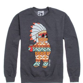 Riot Society Tribal Party Bear Crew Fleece - Mens Hoodie - E. Heather Grey
