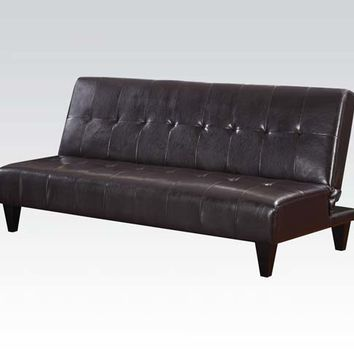 Acme 05638 Conrad espresso leather like vinyl adjustable sofa futon bed with tufted back and dark finish legs