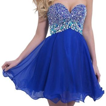 VILAVI Women's A-line Sweetheart 2015 Short Homecoming Dresses 2 Royal Blue