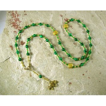 Artio Prayer Bead Necklace in Reconstituted Malachite: Gaulish Celtic Goddess of the Bear