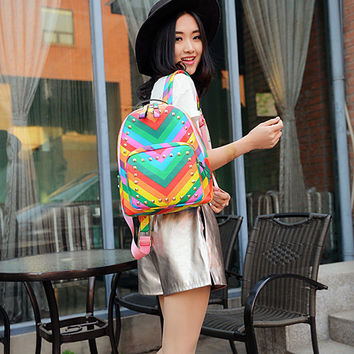 Casual College Comfort Back To School Hot Deal On Sale Summer Stylish Rivet Backpack [8384137159]