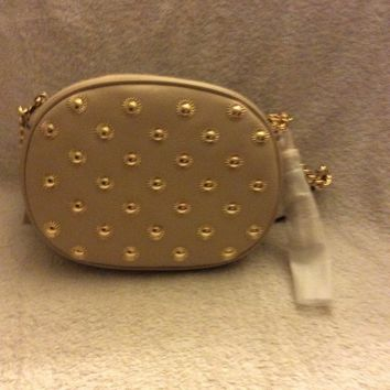 MK Michael Kors Ginny Studded Medium Messenger Crossbody Bag - Oyster
