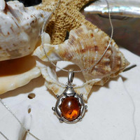 """Sterling Silver Baltic Amber Ladybug Necklace w 19"""" Sterling Silver Cable Chain"""