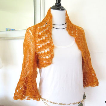 Orange mohair shrug, lacy knit silk mohair sweater, crochet trim, luxury knit outerwear