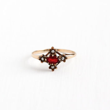 Antique 14k Rosy Yellow Gold Simulated Garnet & Seed Pearl Ring - Size 7 Vintage Late 1800s Red Glass Stone Floral Flower Fine Jewelry