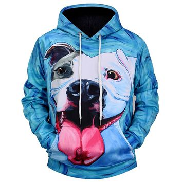 Pit Bull Face Tongue Out Hoodie All Over Print Sweatshirt Pitbull Sweater