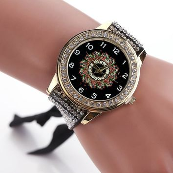 Ladys  Rhinestone Bracelet Dress Quartz Watch