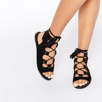 Boohoo Lace Up Sandal With Tassel
