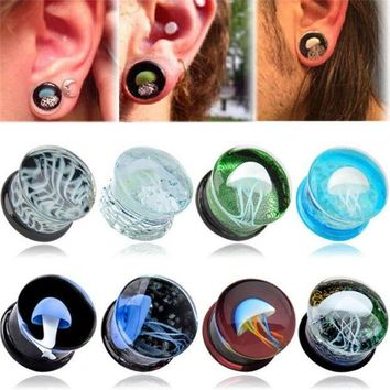 ac DCCKO2Q 1 pcs 8-16mm GLass Ear Reamer Tunnel Plug Verisimilar Sea Jellyfish Luminous Ear Expander Stretcher Body Piercing Jewelry women