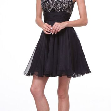 Sleeveless Beaded Bodice Homecoming Short Dress Black