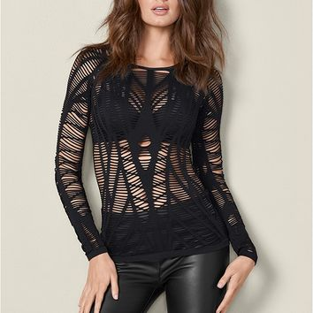 Seamless Cut Out Top in Black | VENUS