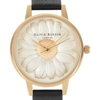Olivia Burton 3D Daisy Leather Strap Watch, 30mm | Nordstrom