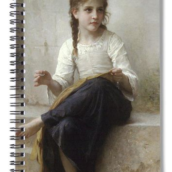 Sewing By Adolphe-william Bouguereau - Spiral Notebook