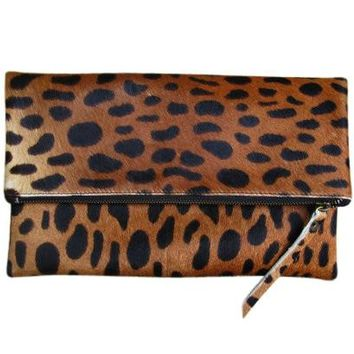 Lyn Foldover Dark Leopard Leather Clutch Handbag