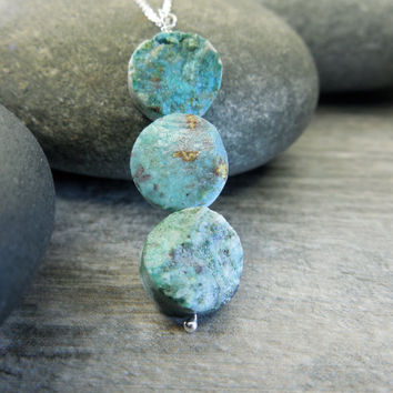 Rustic Teal Necklace, Earthy Jewelry, Raw Chrysocolla, Three Circles, Rough Rock, Crusty Earth Stone, Sterling Silver, Contemporary Zen,