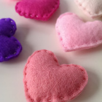 Pink Hearts for Wedding, Valentine's Day , Party Favour, Mother's Day, Birthday Gift, Table Decoration. Felt Hearts. Set of Seven (7).