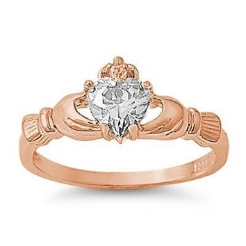 Rose Gold Claddagh 925 Sterling Silver 0.75 Carat Russian Clear Diamond Heart CZ Accent Promise Wedding Engagement Anniversary Fidelity Ring