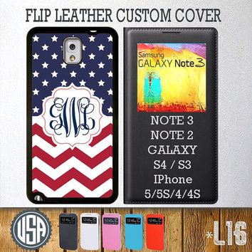 Custom Monogram American Flag Pattern Flip Leather Cover @ Samsung Galaxy S4 case S3 , Samsung Note 3 Note 2 , IPhone 5 5S , IPhone 4 4S L16