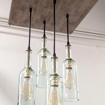 Wine Bottle Chandelier with Edison Bulbs