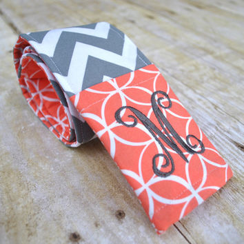 Monogrammed camera strap cover (coral/gray)