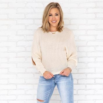 Open Up Knit Sweater In Cream