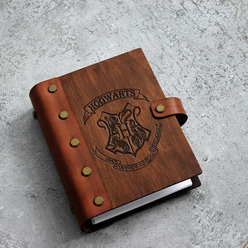 Harry Potter Wooden Notebook Wedding Harry Potter Guest Book Rustic Wood Notebook Journal Valentines gifts Boyfriend Gift