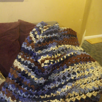 Crochet afghan, warm handmade blanket, Rolling Waves bed spread