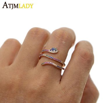 multi color eternity band delicate rainbow cz cute girl women colorful full cz snake tiny stunning elegance dainty cz ring