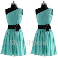 One-shoulder Strapless A-Line Short Bridesmaid Celebrity dress ,Chiffon Evening Party Prom Dress Homecoming Dress