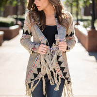 Season Of Fringe Cardigan, Gray