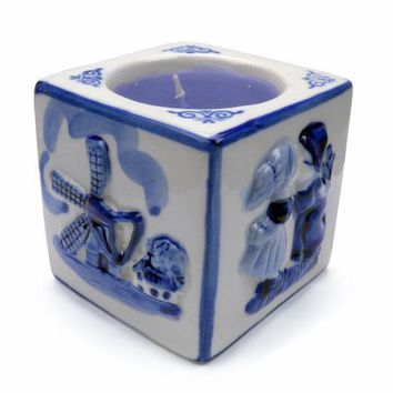 Delft Blue Votive Candle Embossed Mill & Kiss