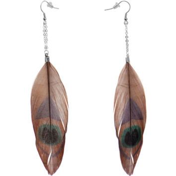 Brown Green Peacock Feather Earrings | Body Candy Body Jewelry