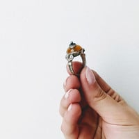 Vintage amber ring, sterling silver and amber ring, mustard colour amber with folk art, silver setting, Greek folk art ring, cocktail ring