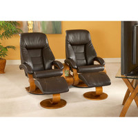 Mac Motion Chairs 58-LO3-40-103-TT-103-CTC Two Espresso (Brown) Top Grain Leather Swivel Recliners with Ottomans and a Theater Table
