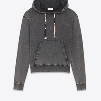 Hoodie in faded-look black fleece with tie-dye drawstring