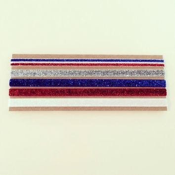 SALE Glitter Headband Set // Red, White + Blue Glitter Elastic Headbands for Baby, Toddler, Kids + Adults, Red White and Blue