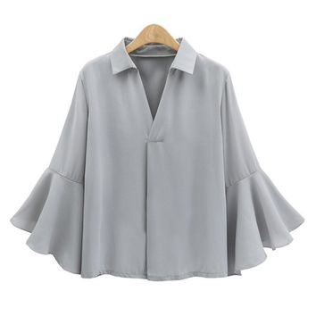 2017 Office Ladies Flare Ruffle Long Sleeve Chiffon Blouse New Women V Neck Turn Down Collar Casual Butterfly Sleeve Tops Shirts