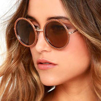 Free Love Gold and Brown Round Sunglasses