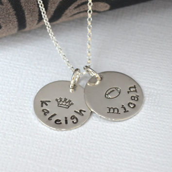Hand-Stamped Personalized Mommy Necklace with Design Stamp and Childrens Names   Personalized Mother's Necklace