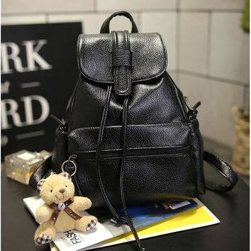 University College Backpack New Travel s Women PU leather Bags Korean Female Leisure  Student School bag Preppy Black Soft Women AT_63_4