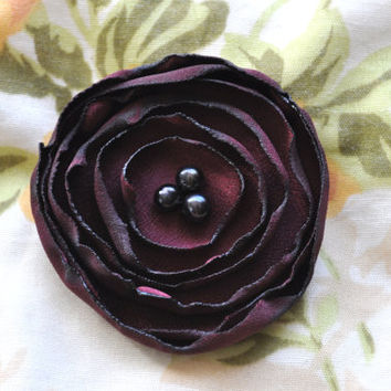 Deep Plum Wine Satin Poppy Flower Hair Clip with 3 Black by SewRed