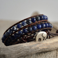 Rustic midnight blue leather wrap bracelet.  Bohemian bracelet