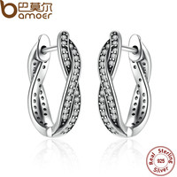 BAMOER Authentic 925 Sterling Silver Twist Of Fate Earrings, Clear CZ Earrings for Women Compatible With Pandora Jewelry PAS465