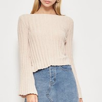 French Kiss Sweater Top in Taupe