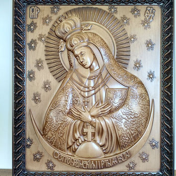 Our Lady of the Gate of Dawn,wood carving, Orthodox Christian, Religious Icon, Byzantine,Hand Made.