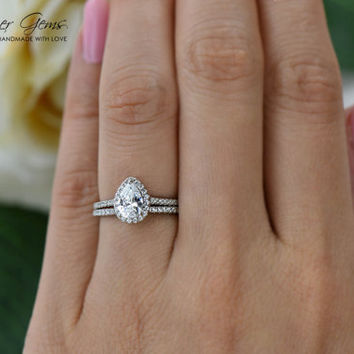 1 ctw, 3/4 Carat, Pear Cut Halo Engagement Ring, Wedding Band, Man Made Diamond Simulants, Wedding, Sterling Silver, Bridal, Promise Ring