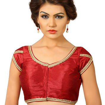 Saris and Things Maroon Dupion Silk Fancy Front Open Saree Blouse Choli SNT-X-376-MAROON