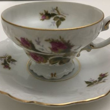 Vintage Ohata China Demitasse Cup Saucer Occupied Japan Floral Design Gold Trim