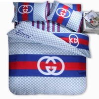 Gucci Bedding Set Red/Blue/White Duvet Cover Sheet Pillowcases Queen size