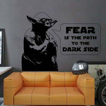 kik2277 Wall Decal Sticker Jedi master Yoda instruction fear dark side Star Wars hall bedroom